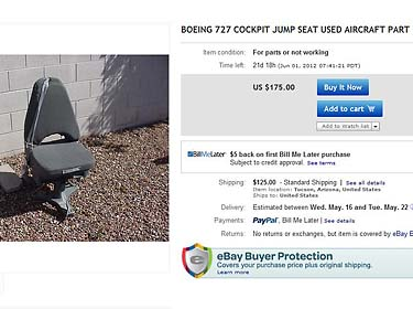 Boeing 727 chair on ebay